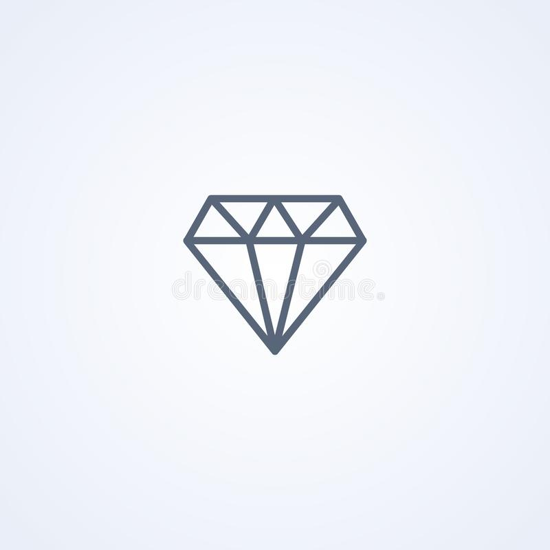 Diamond, vector best gray line icon royalty free illustration