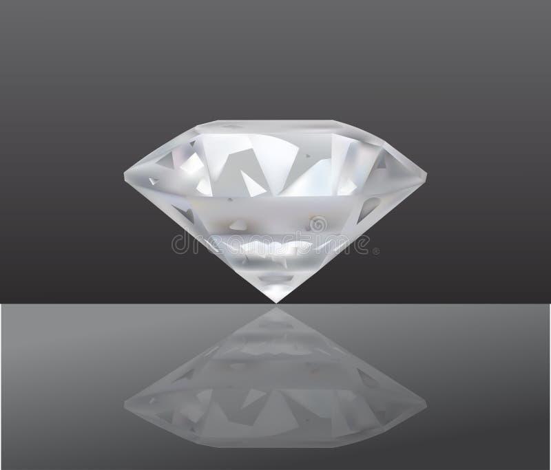 Diamond Vector Illustration realistico monili Su fondo scuro illustrazione di stock