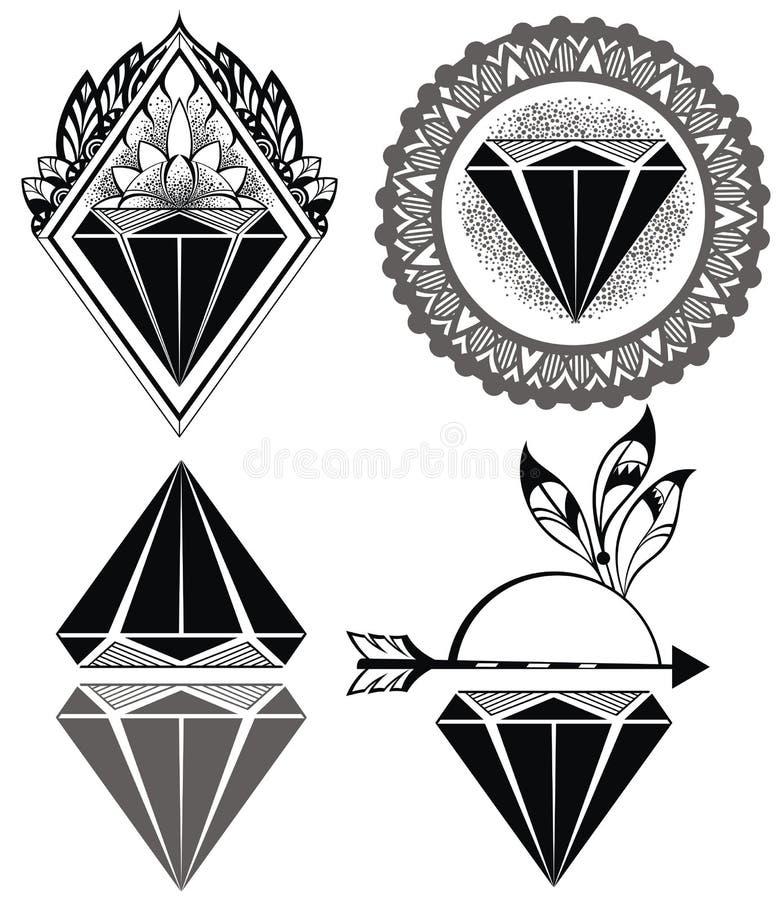 Diamond Vintage Hipster Labels van diamanten royalty-vrije illustratie