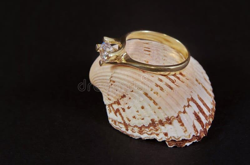 Diamond Wedding Ring na concha do mar foto de stock royalty free
