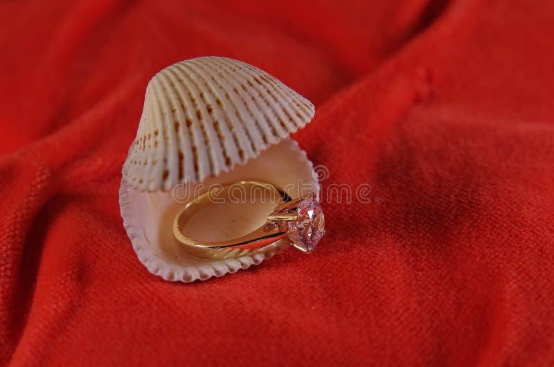 Diamond Wedding Ring na concha do mar fotos de stock