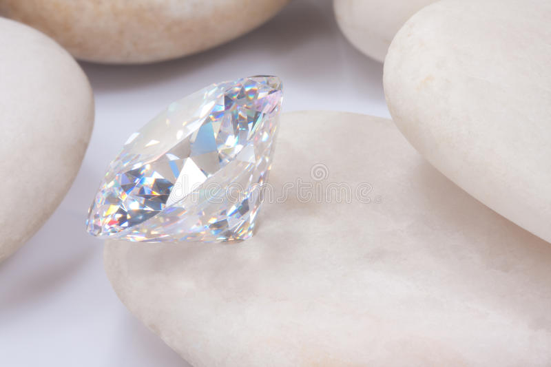 Diamond On White Stone Royalty Free Stock Image