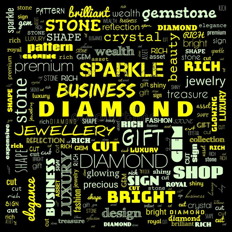 Diamond word cloud,text, word cloud use for banner, painting, motivation, web-page, website background, t-shirt & shirt printing,. Poster, gritting, wallpaper royalty free stock images