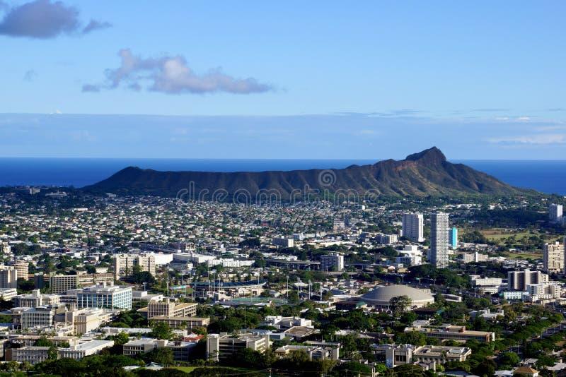 Diamondhead and the city of Honolulu, Kaimuki, Kahala, and ocean royalty free stock images