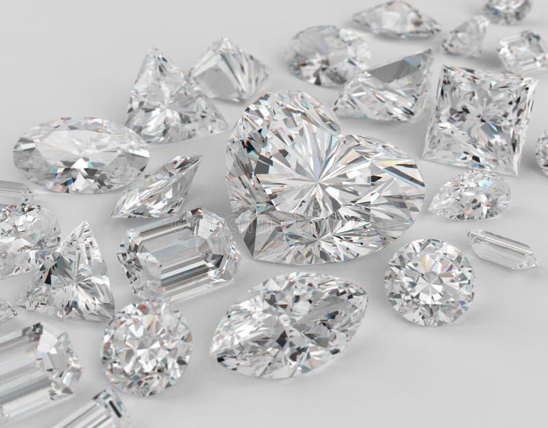 Diamonds. Diamonds different cuts on gray background. Focus on large diamond heart shape. 3d illustration