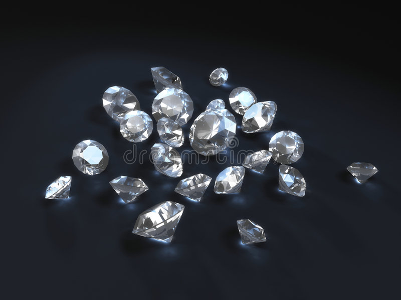 Diamonds. Rendered diamonds