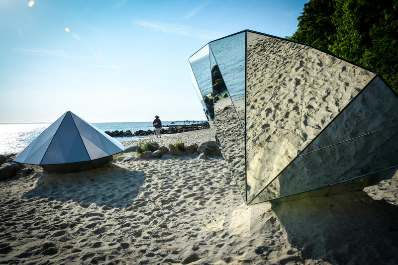 Diamonds (Aarhus Denmark). The sculptures 'Diamonds' on the beach at the 'Sculpture by the Sea' art exhibition in Aarhus, Denmark. By the Czech artist, Michal royalty free stock image