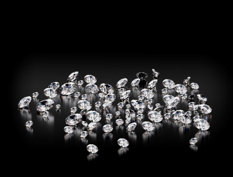 Diamonds on black background stock image