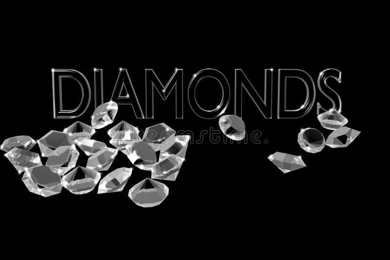 Diamonds on a black background. vector illustration