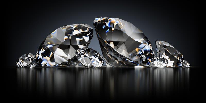 Diamonds on a Black Background stock illustration