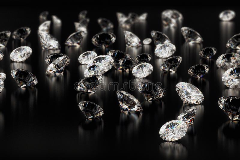 Diamonds on black background royalty free stock photo