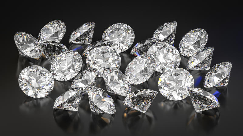 Diamonds on black background. royalty free stock image