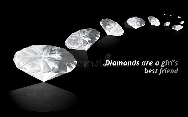 Diamonds on black color mirrored background royalty free illustration