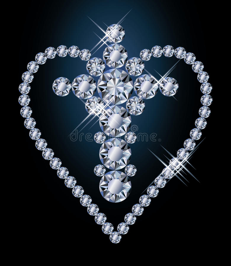 Download Diamonds cross and heart stock vector. Illustration of diamond - 37491953