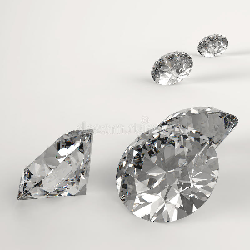 Diamonds 3d in composition royalty free illustration