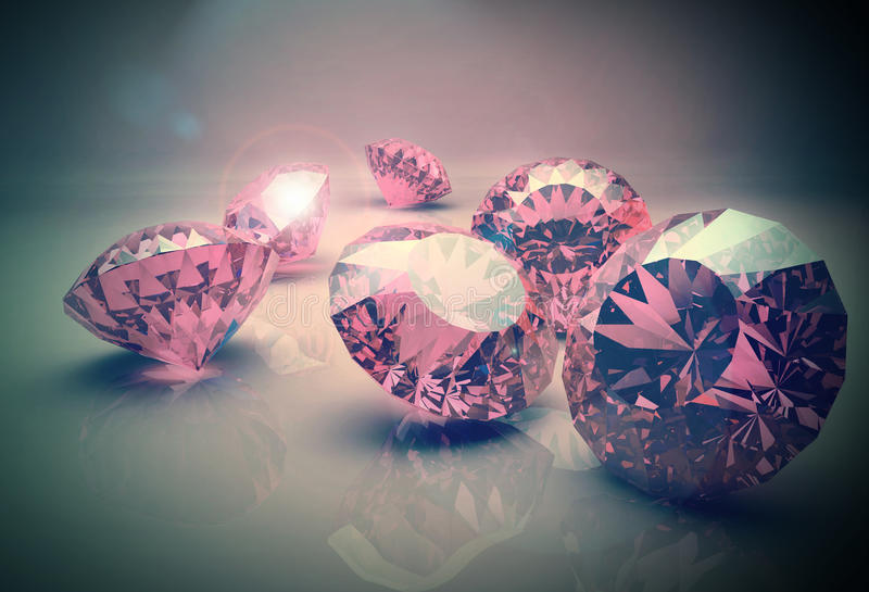 Diamonds 3d model. 3d model of pink beautiful diamonds royalty free stock images