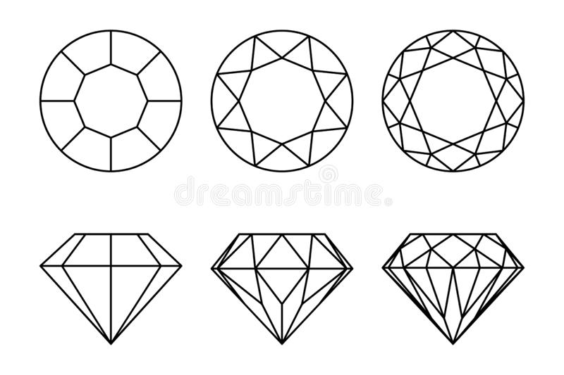 Diamonds graphic signs set. Diamond types of cutting icons isolated on white background. Vector illustration stock illustration