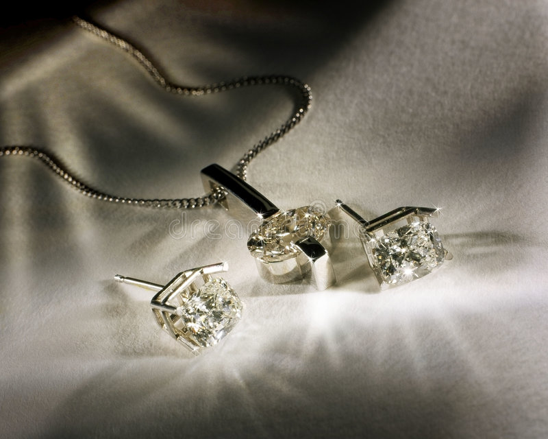 Diamonds Earings and Pendant stock images