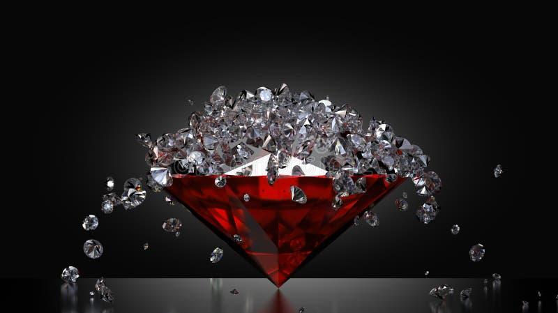 Diamonds falling on ruby. Lots of small diamonds falling on a large ruby stone stock illustration