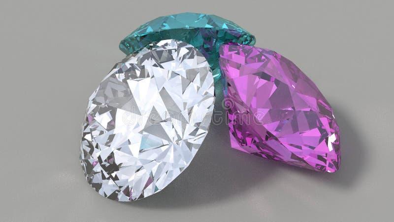 Diamonds on flat background royalty free stock image
