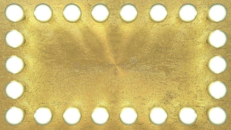 Light bulbs on gilded gold background stock photo