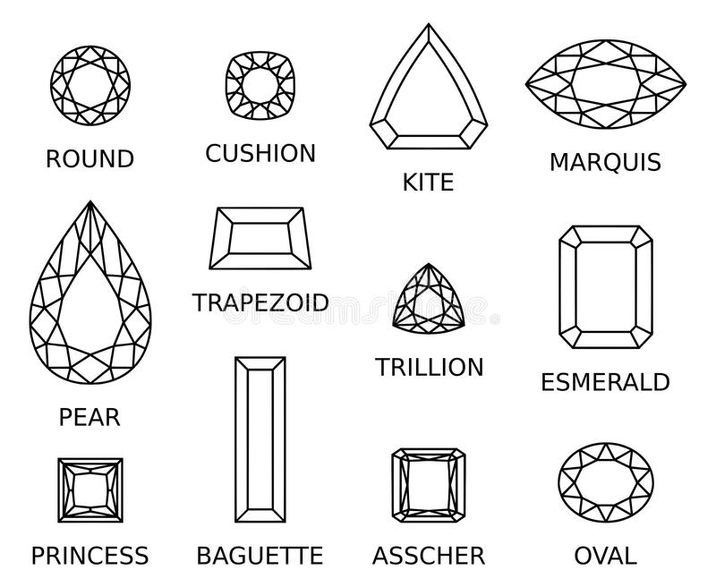 Diamonds. High quality vector illustration of different diamonds shapes and cut on white background. Full editable vector eps file available vector illustration