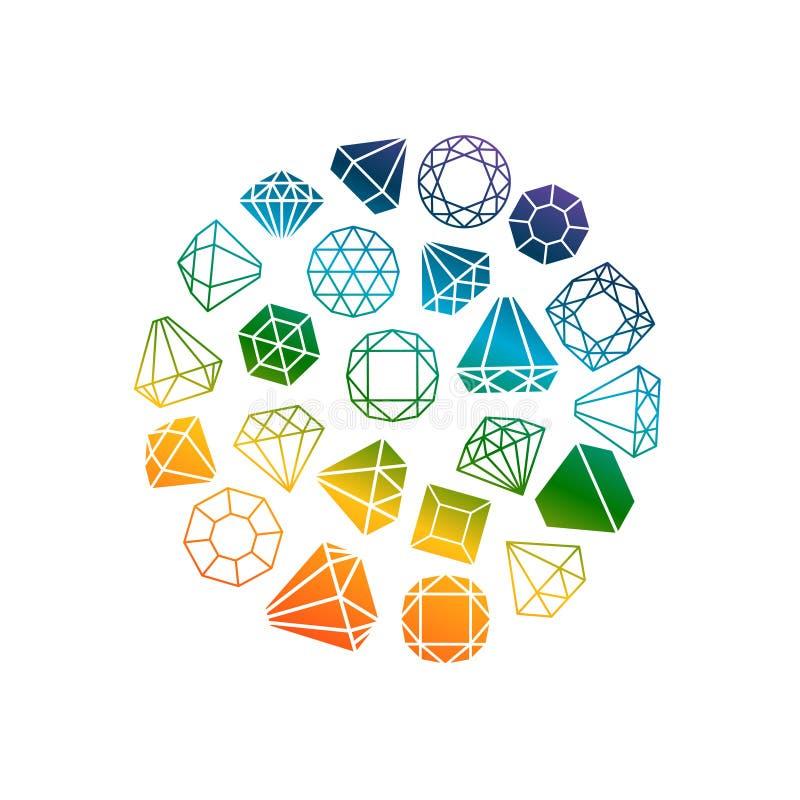 Diamonds icons round banner royalty free illustration