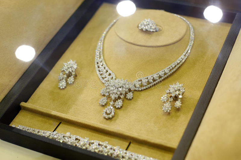 Diamonds jewelry set stock photography