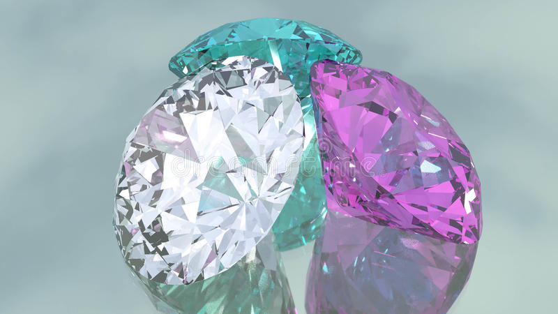Diamonds on mirrored background royalty free stock images