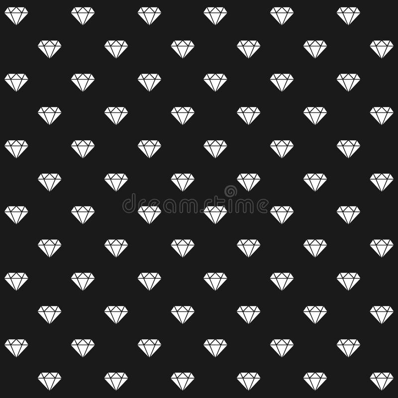 Diamonds pattern. Elegant background made with white diamonds silhouettes on dark background - seamless pattern illustration. Editable eps file available royalty free illustration
