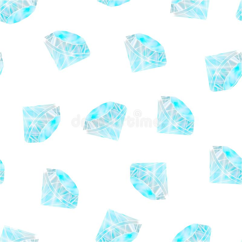 Diamonds pattern. Seamless pattern with gemstones circuits. Dark blue and white background. Good for wrapping paper, textil royalty free illustration