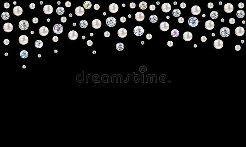 Diamonds and pearls raining from top on black background vector illustration