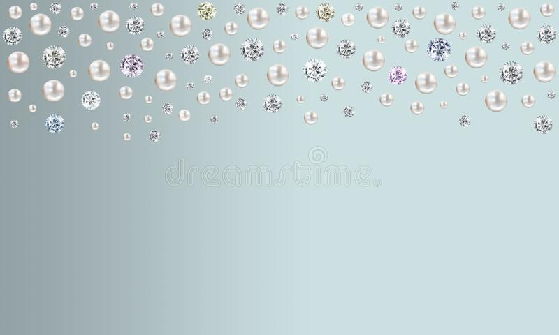 Diamonds and pearls raining from top on pale turquoise blue satin background royalty free illustration