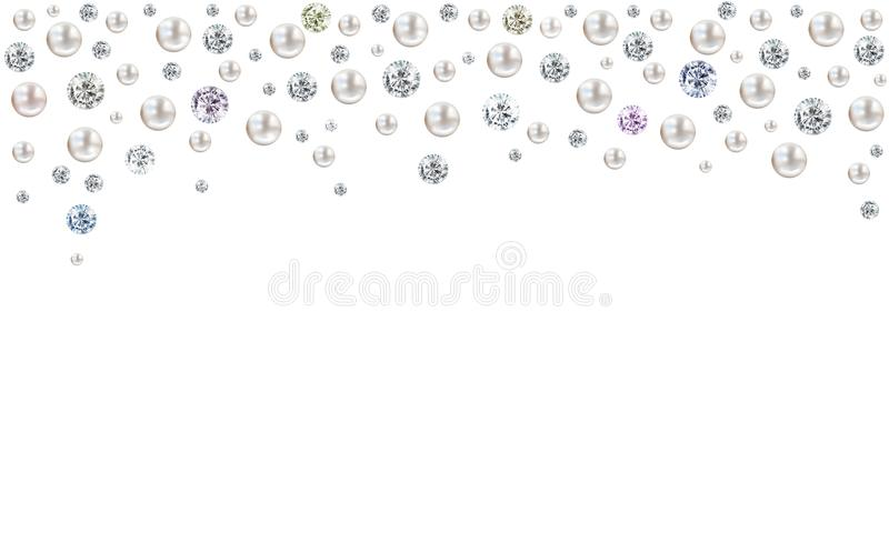 Diamonds and pearls raining from top on white background royalty free illustration