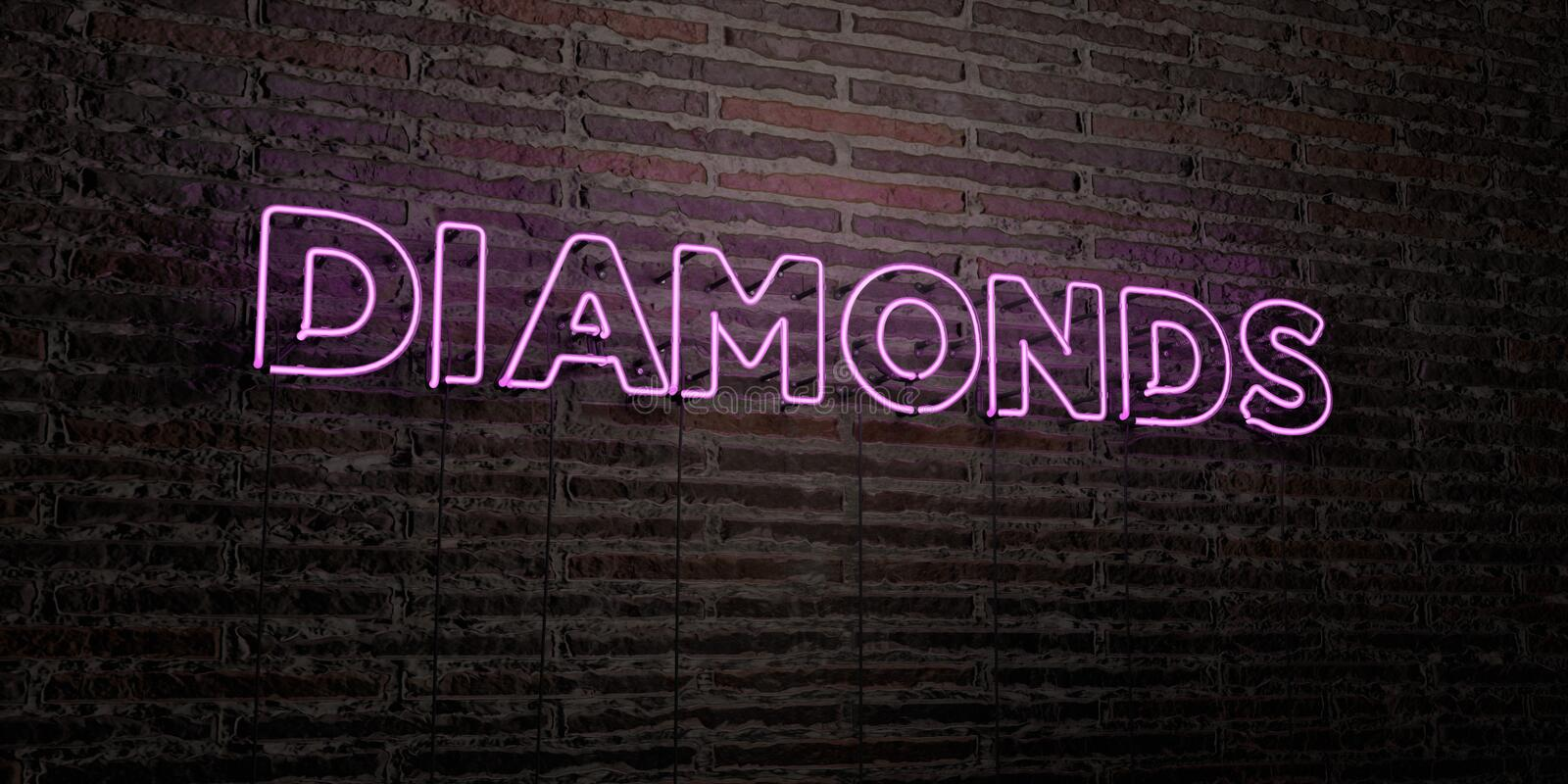 DIAMONDS -Realistic Neon Sign on Brick Wall background - 3D rendered royalty free stock image royalty free illustration