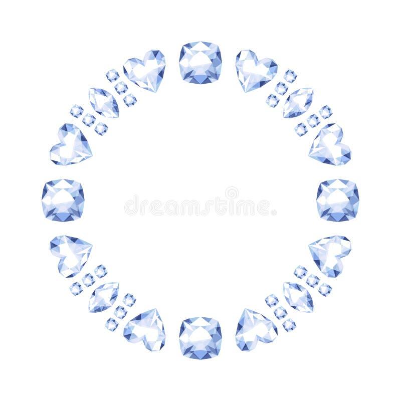 Diamonds round frame. royalty free illustration