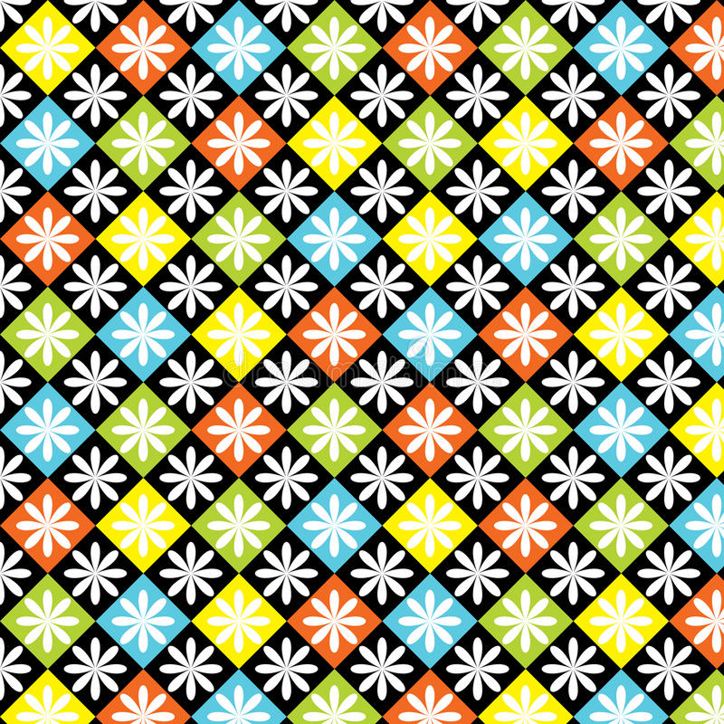 Diamonds Seamless Colorful Pattern. Colorful, bright seamless pattern of diamonds and flowers stock illustration