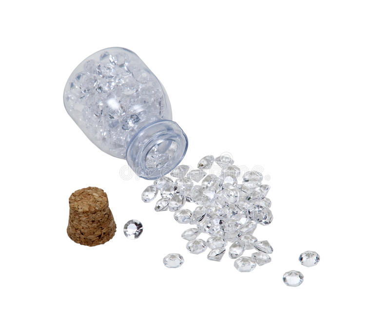 Diamonds in Small Jar royalty free stock photos