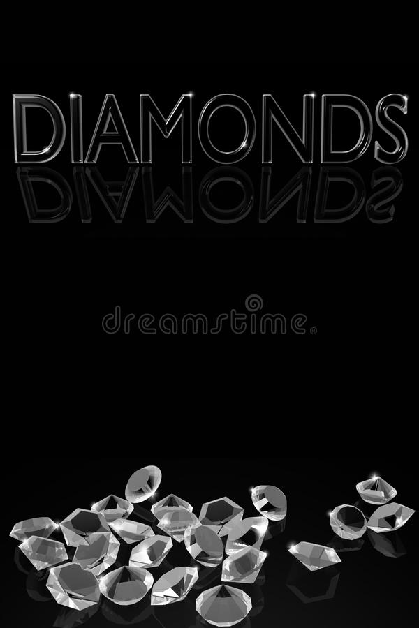 Diamonds on the vertical black background with the words. stock illustration