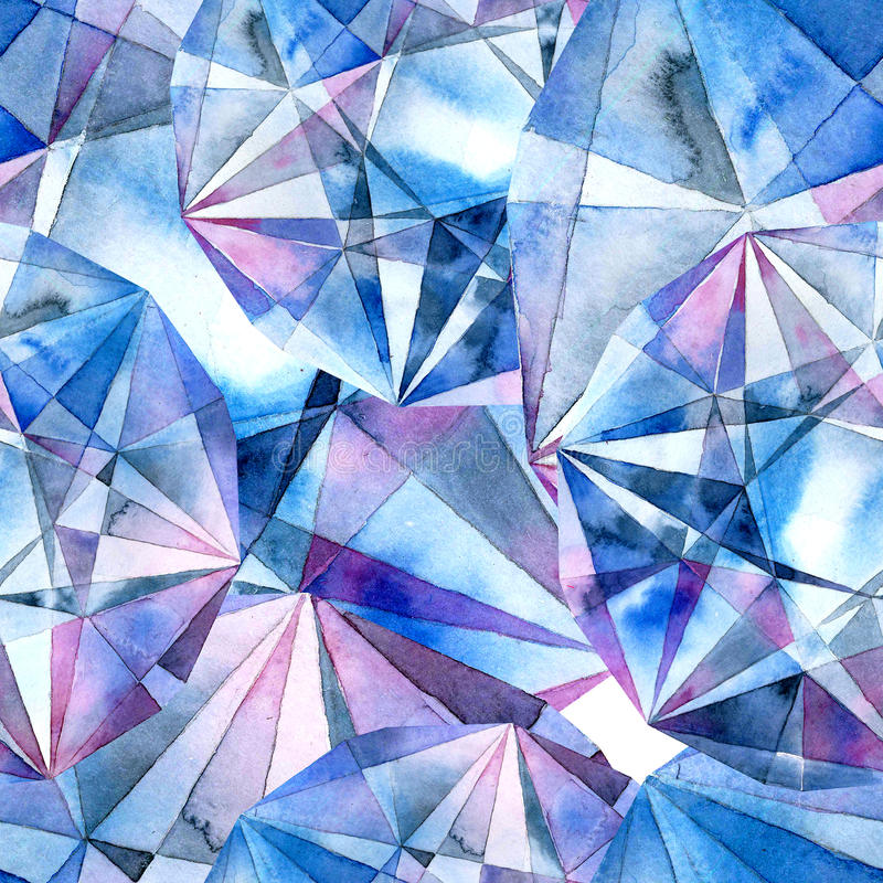 Diamonds. Watercolor illustration of crystals. Seamless pattern vector illustration