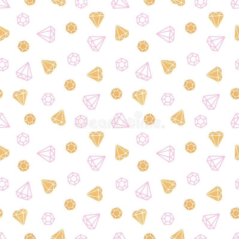 Diamonds on white background. Cute seamless pattern royalty free illustration