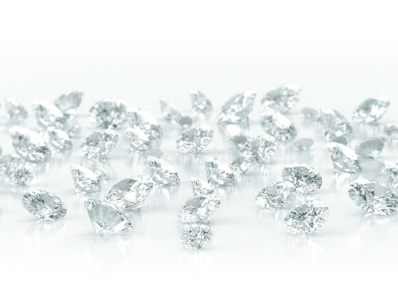Diamonds on white background stock photos