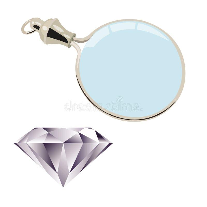 diamons玻璃扩大化 向量例证