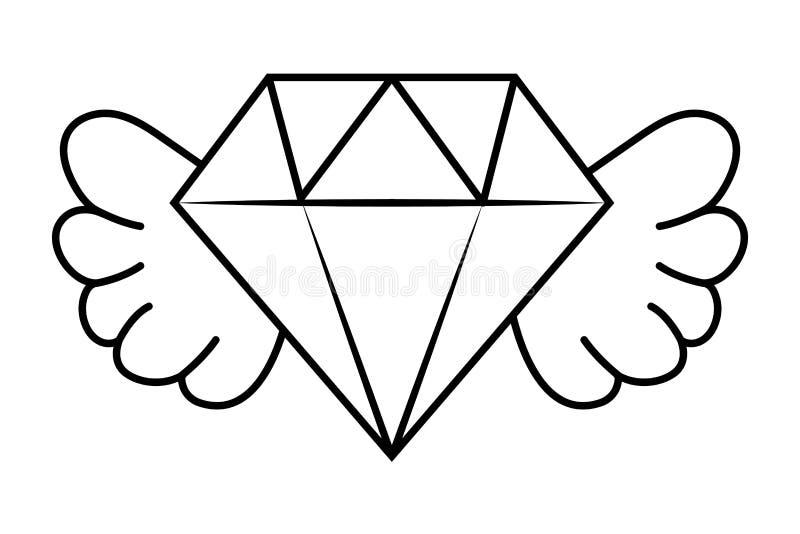 Asas Brilhantes Do Diamante Ilustração Do Vetor Ilustração