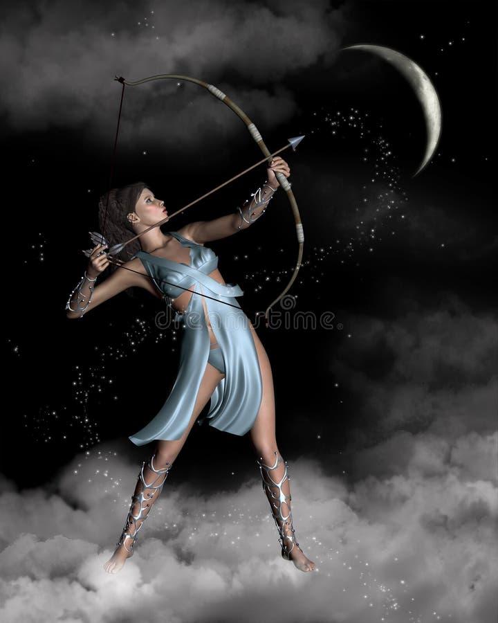 Diana (Artemis) der Huntress mit gerundetem Mond lizenzfreie abbildung
