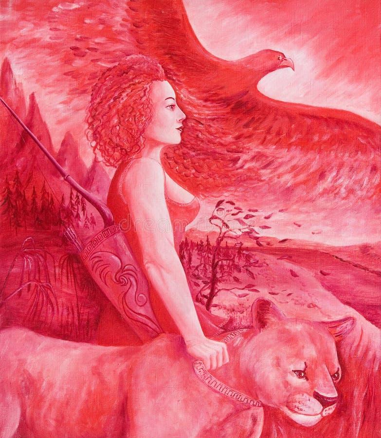 Diana, godin van hun stock illustratie
