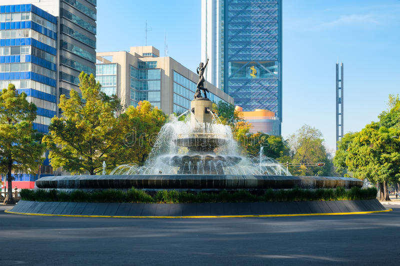 The Diana the Huntress fountain in Mexico City. The Diana the Huntress fountain at Paseo de la Reforma in Mexico City stock images