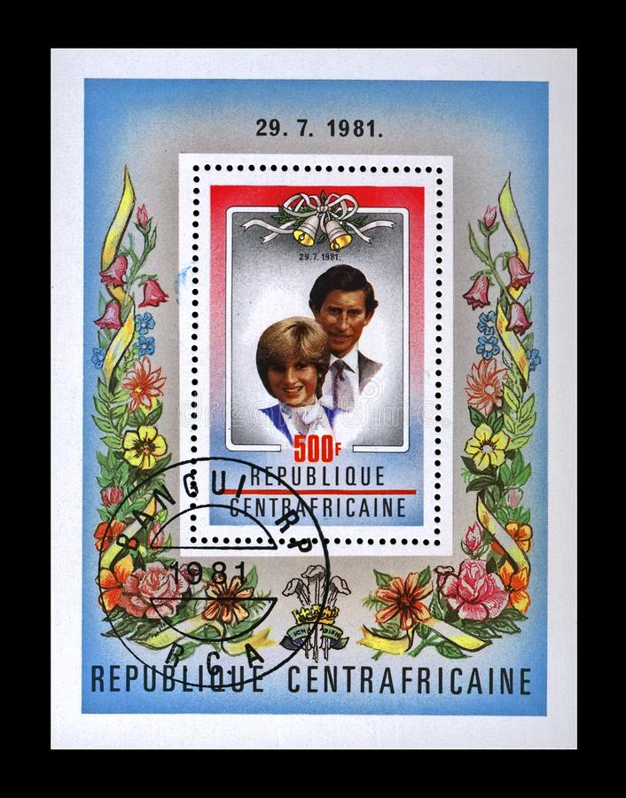 Diana Spencer and Prince Charles Royal Wedding, Central African Republic, circa 1981,. CENTRAL AFRICAN REPUBLIC RCA - CIRCA 1981: canceled stamp printed in royalty free stock image