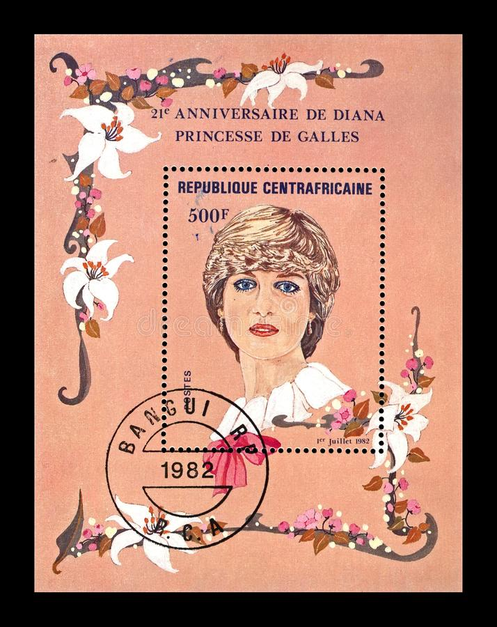 Diana Spencer, 21th birthday anniversary, Central African Republic, circa 1982,. CENTRAL AFRICAN REPUBLIC - CIRCA 1982: canceled stamp printed in Central African royalty free stock images