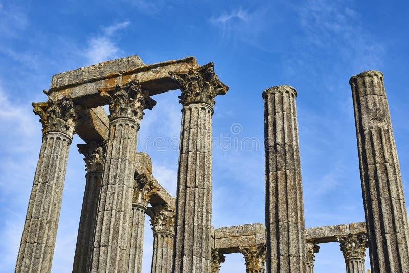 Diana-tempel in Evora, Alentejo portugal royalty-vrije stock afbeelding